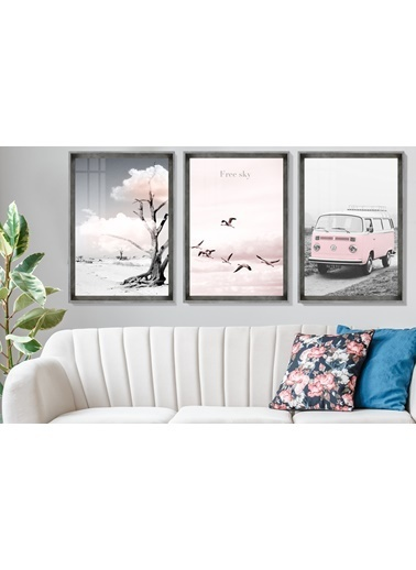 Çerçeve Home   Pink Wv Decorative Inox Çerçeve Tablo Seti Füme